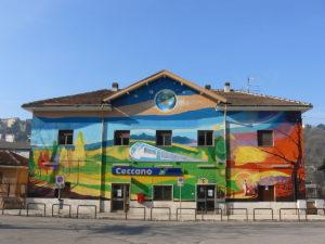 Il gigantesco murale di Alberto Spaziani sulla stazione ferroviaria di Ceccano