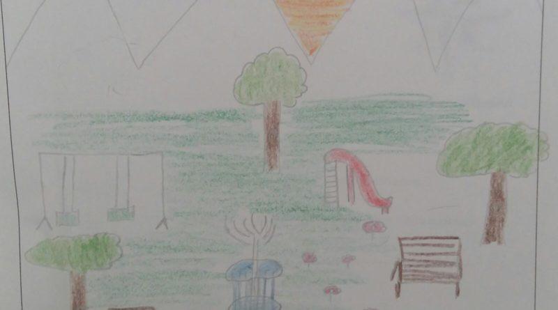 Un parco pubblico disegnato da un bambino