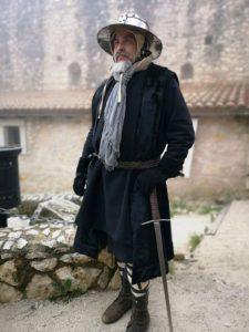 Il professor Luigi Velardo durante una rievocazione storica