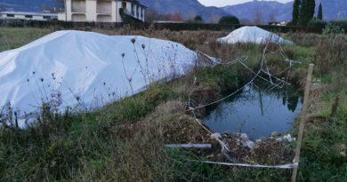 Le fosse ricolme di rifiuti e acqua si trovano a pochi metri da alcune abitazioni (Foto: Cassinogreen, dicembre 2018)