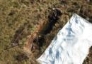 La discarica del Nocione, fra Cassino e Sant'Elia Fiumerapido, vista dal drone. L'immagine mostra una fossa ancora a cielo aperto (Foto di Edoardo Grossi)
