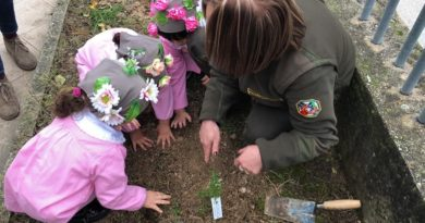 I bambini di Posta Fibreno (Fr) impegnati nella piantumazione durante la Festa dell'albero