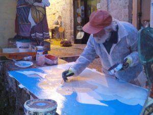 Alberto Spaziani nel suo studio a Frosinone