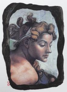 Il dettaglio di un murale di Alberto Spaziani