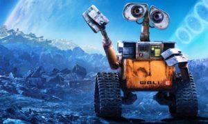 Il robot protagonista del film d'animazione passeggia al chiaro di luna